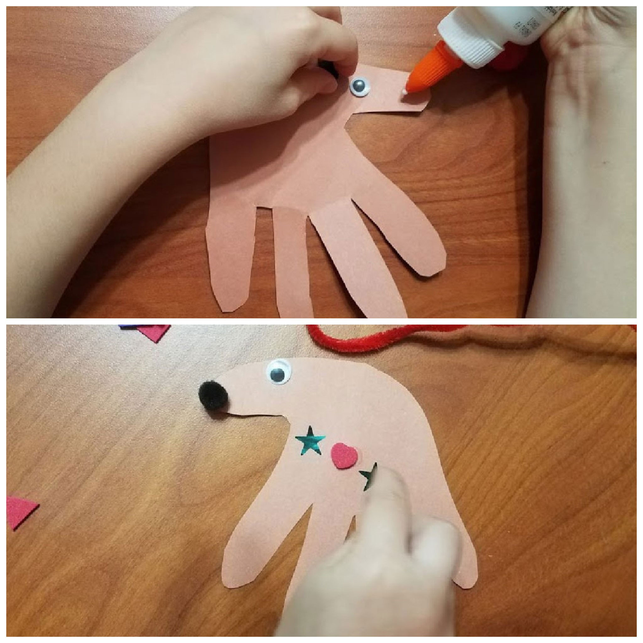 Gluing pieces on the reindeer handprint ornament