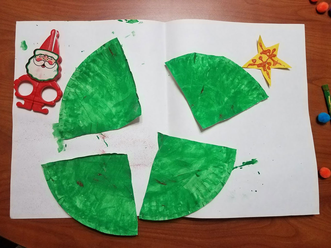 paper plate christmas tree ready to assemble
