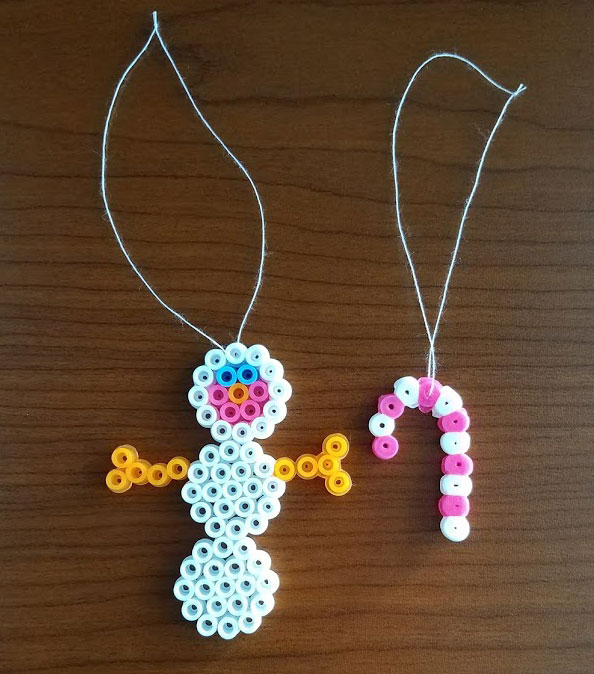 perler bead snowman and candy cane Christmas tree ornaments